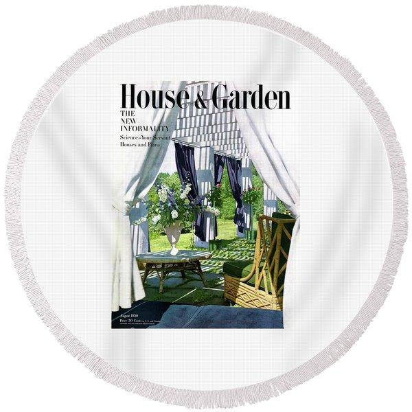 The Horsts Garden Round Beach Towel