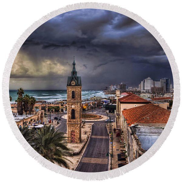 the Jaffa old clock tower Round Beach Towel