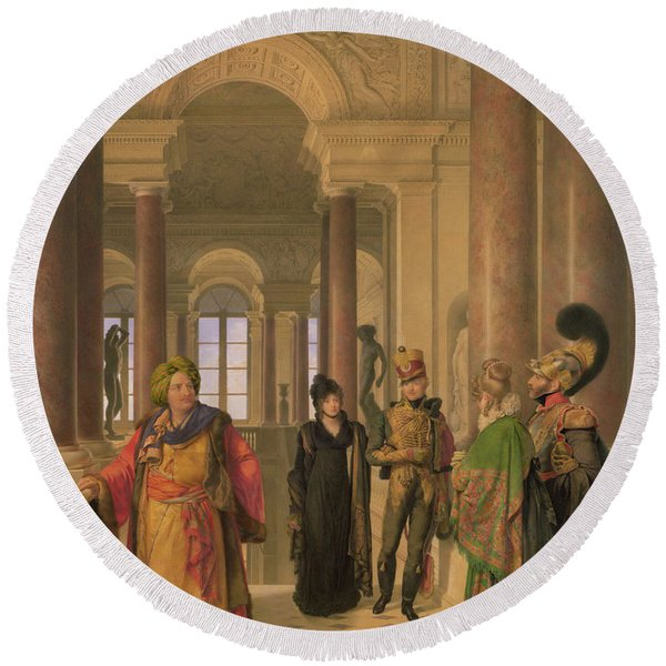 The Main Staircase Of The Louvre, 1817 Wc On Paper Round Beach Towel