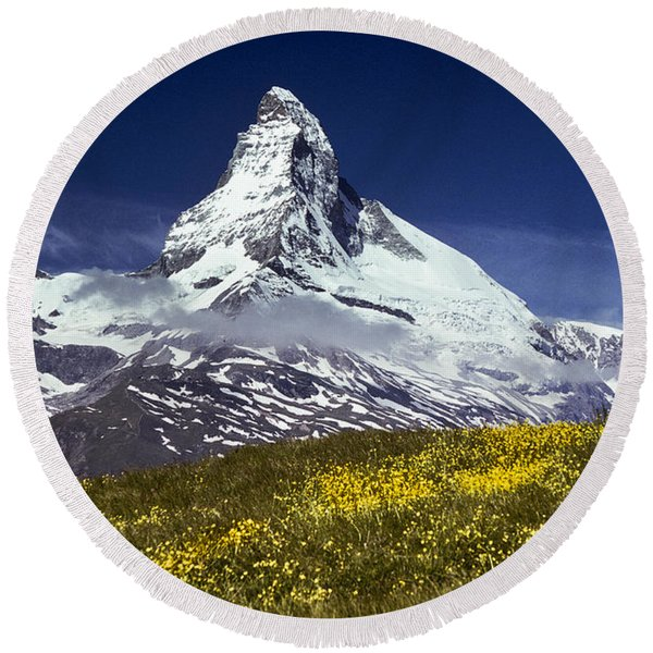 The Matterhorn With Alpine Meadow In Foreground Round Beach Towel