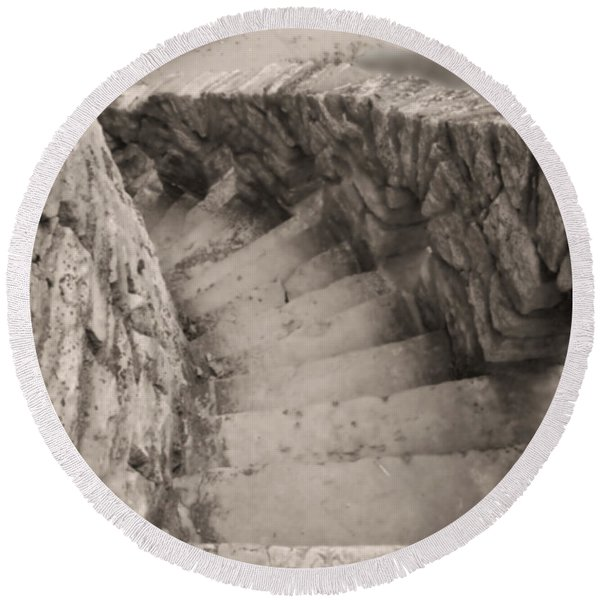 Castle Stairs Round Beach Towel