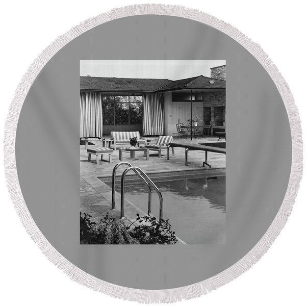 The Pool And Pavilion Of A House Round Beach Towel