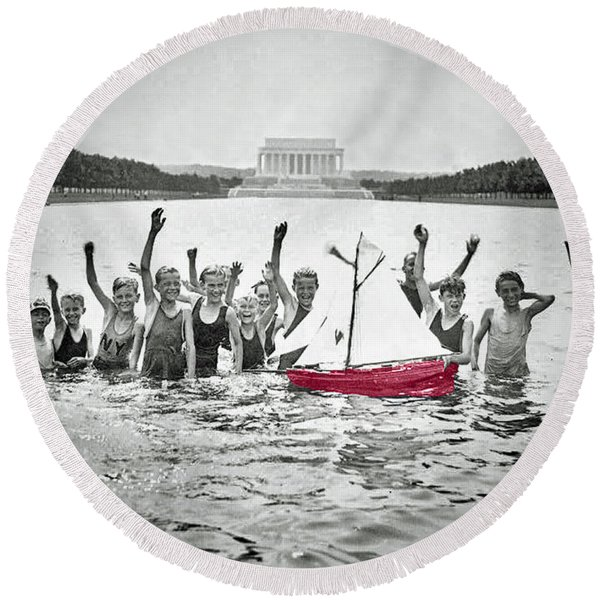 The Red Boat And The Lincoln Boys Round Beach Towel