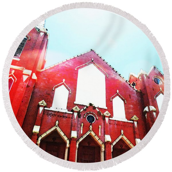 The Red Church By Sharon Cummings Round Beach Towel