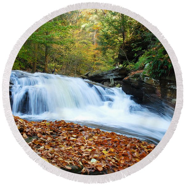 The Rushing Waterfall Round Beach Towel