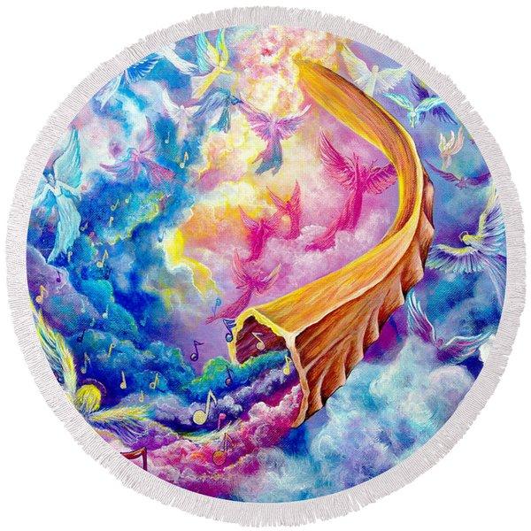 Round Beach Towel featuring the painting The Shofar by Nancy Cupp