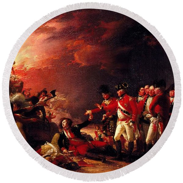 The Sortie From Gibraltar, 1788 Oil On Canvas Round Beach Towel