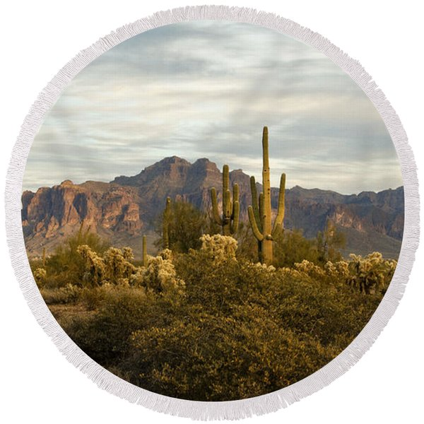 The Superstition Mountains Round Beach Towel