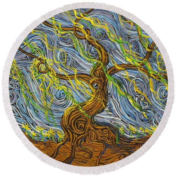 The Tree Have Eyes Round Beach Towel