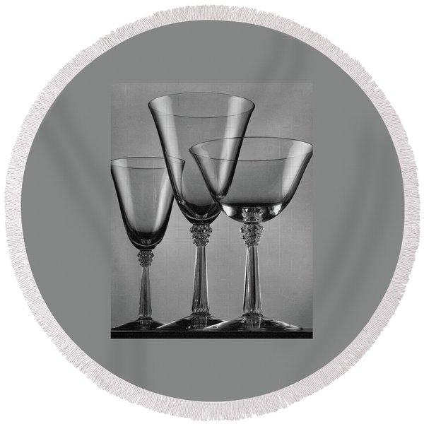 Three Glasses By Fostoria Round Beach Towel