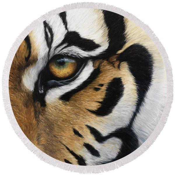 Tiger Eye Round Beach Towel