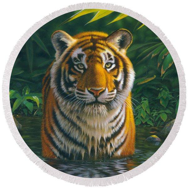 Tiger Pool Round Beach Towel