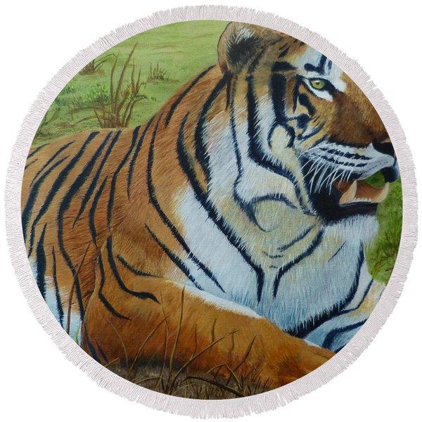 Tiger Tiger Round Beach Towel