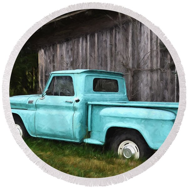 To Be Country - Vintage Vehicle Art Round Beach Towel