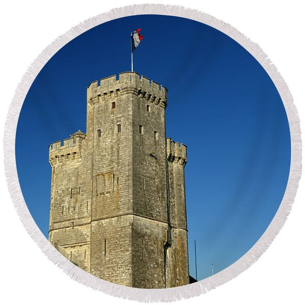 Tower Of La Rochelle Round Beach Towel