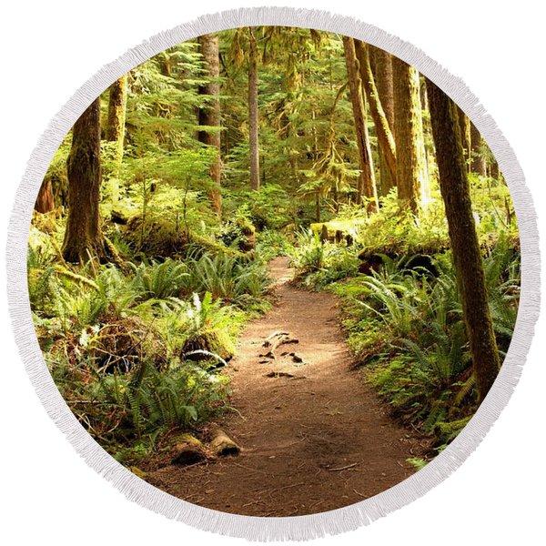 Trail Through The Rainforest Round Beach Towel
