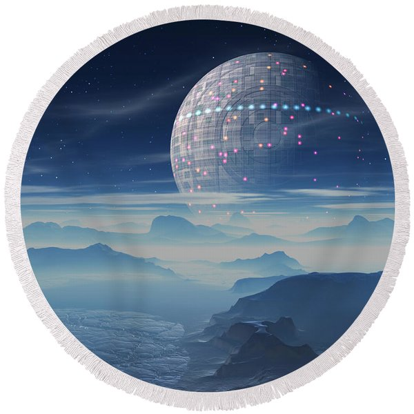 Tranus Alien Planet With Satellite Round Beach Towel