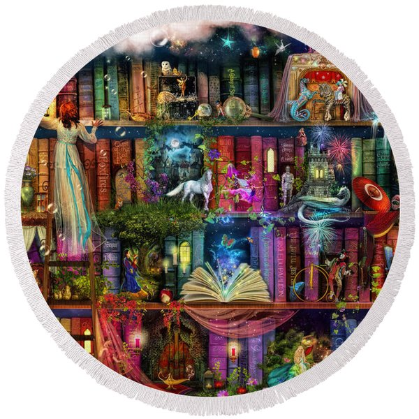 Fairytale Treasure Hunt Book Shelf Round Beach Towel