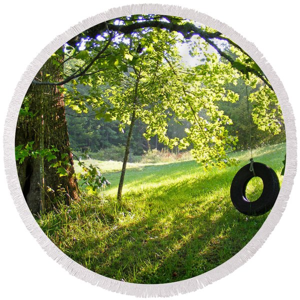 Tree And Tire Swing In Summer Round Beach Towel
