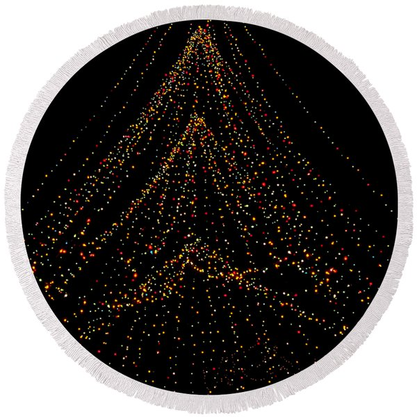 Tree Of Lights Round Beach Towel