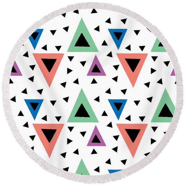 Triangular Dance Repeat Print Round Beach Towel