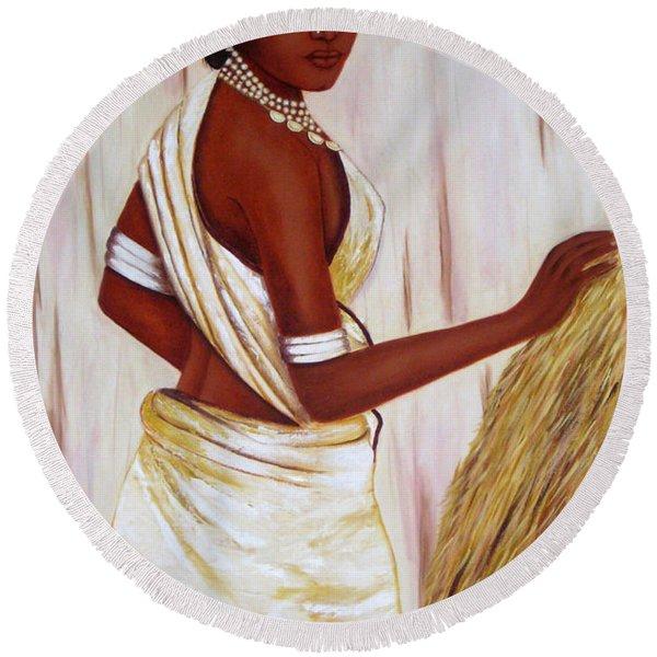 Tribal Girl Round Beach Towel