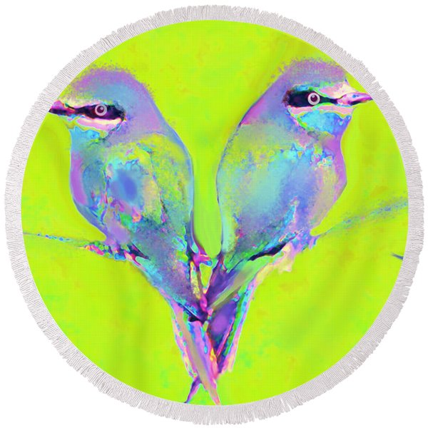 Tropical Birds Blue And Chartreuse Round Beach Towel