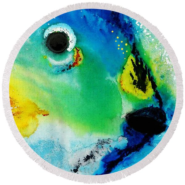 Tropical Fish 2 - Abstract Art By Sharon Cummings Round Beach Towel