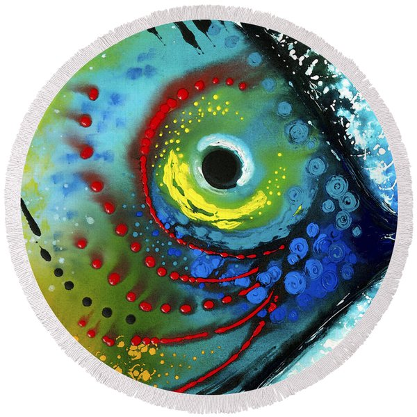 Tropical Fish - Art By Sharon Cummings Round Beach Towel