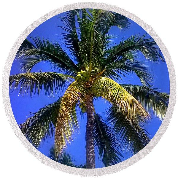 Tropical Palm Trees 8 Round Beach Towel