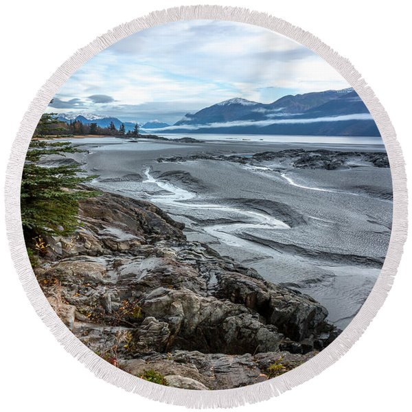 Round Beach Towel featuring the photograph Turnagain Tide Flats by Tim Newton