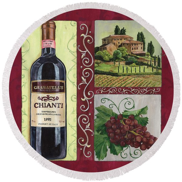 Tuscan Collage 1 Round Beach Towel