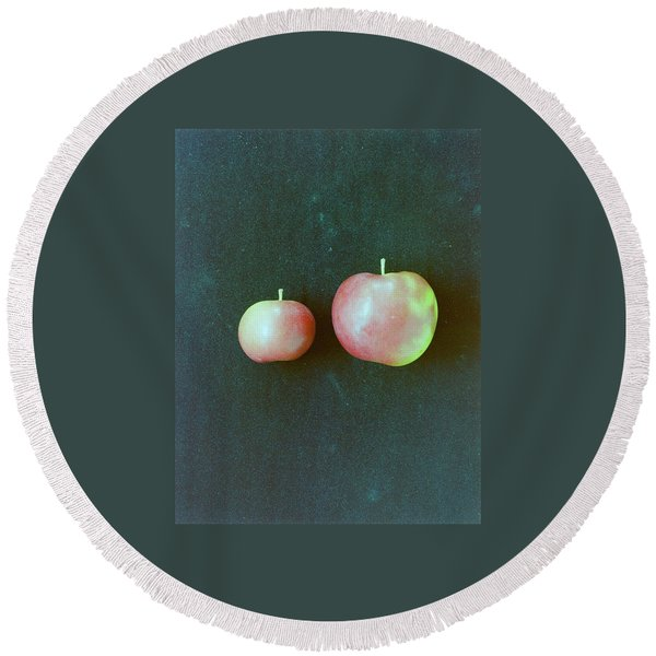 Two Red Apples Round Beach Towel