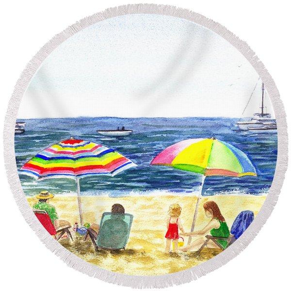 Two Umbrellas On The Beach California  Round Beach Towel