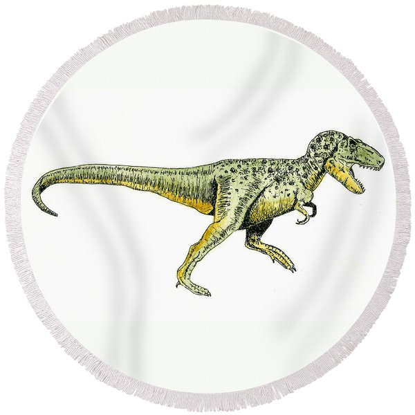 Tyrannosaurus Rex Round Beach Towel