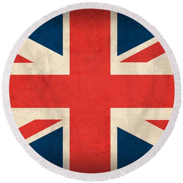 United Kingdom Union Jack England Britain Flag Vintage Distressed Finish Round Beach Towel