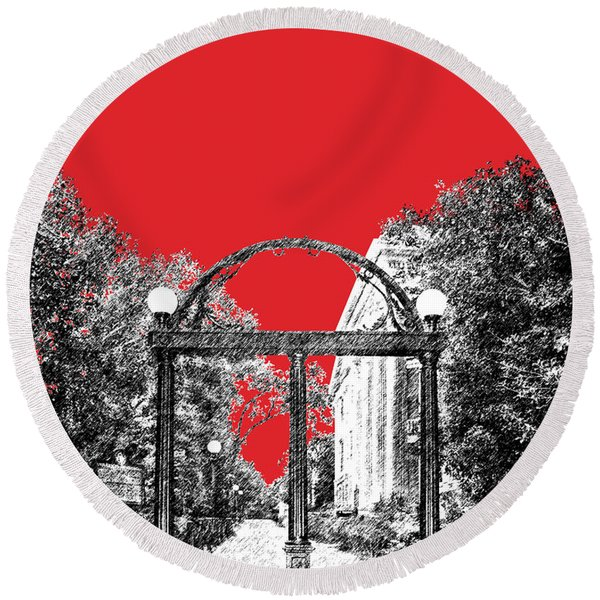 University Of Georgia - Georgia Arch - Red Round Beach Towel
