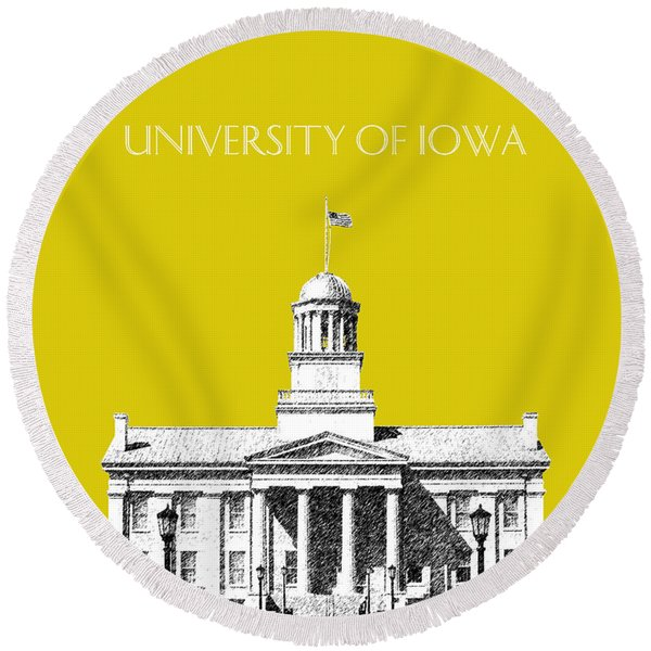 University Of Iowa - Mustard Yellow Round Beach Towel