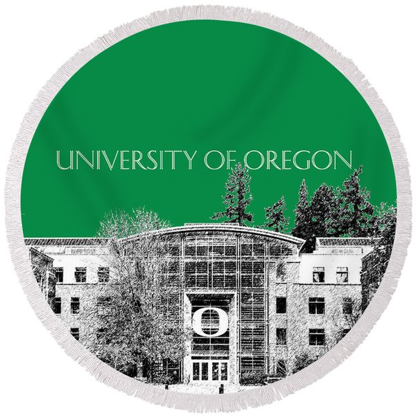 University Of Oregon - Forest Green Round Beach Towel