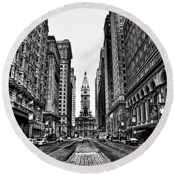 Round Beach Towel featuring the photograph Urban Canyon - Philadelphia City Hall by Bill Cannon