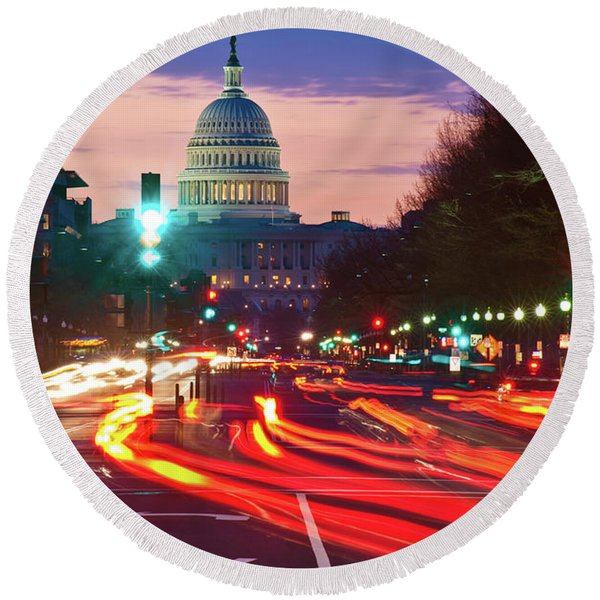 Us Capitol Building At Dusk Round Beach Towel