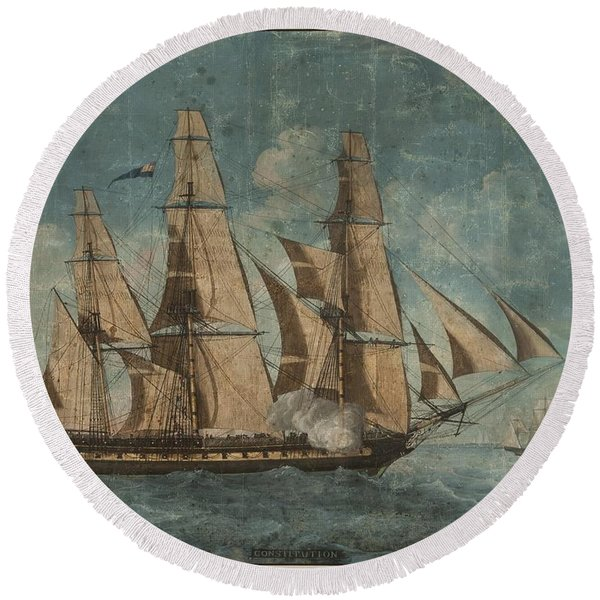 Uss Constitution 1803 Round Beach Towel
