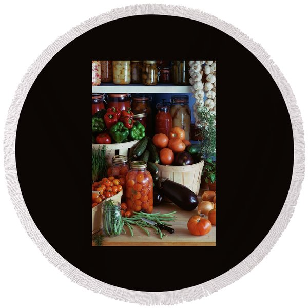 Vegetables For Pickling Round Beach Towel