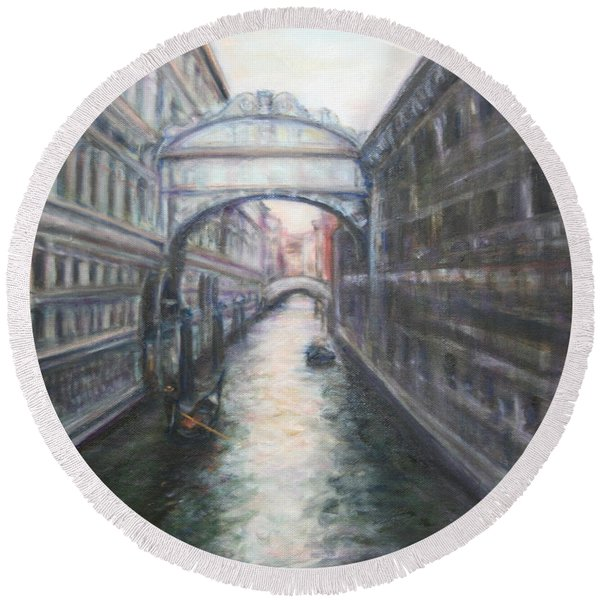 Venice Bridge Of Sighs - Original Oil Painting Round Beach Towel