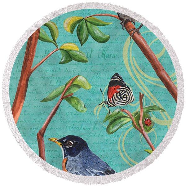 Verdigris Songbirds 1 Round Beach Towel