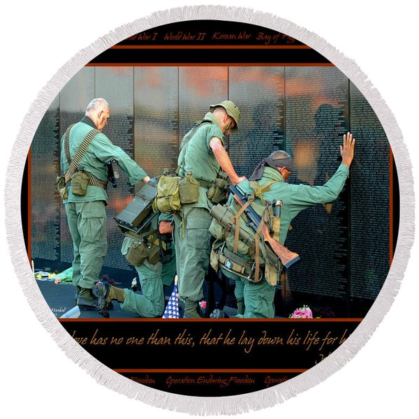 Round Beach Towel featuring the photograph Veterans At Vietnam Wall by Carolyn Marshall