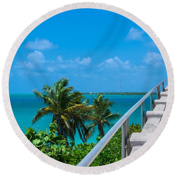 View From The Old Bahia Honda Bridge Round Beach Towel
