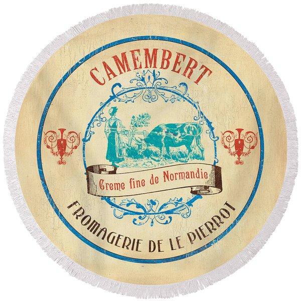 Vintage Cheese Label 3 Round Beach Towel