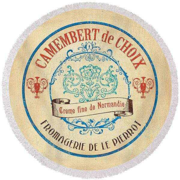 Vintage Cheese Label 4 Round Beach Towel
