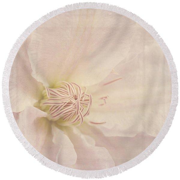 Vintage Flower Art - A Beautiful Place Round Beach Towel